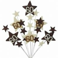 Star age 60th birthday cake topper decoration in choc and cream - free postage